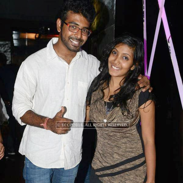 Gautam poses with Sangamithra during a get-together party at Pub Illusions.