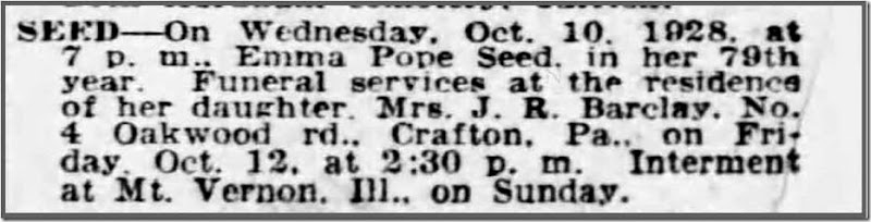 SEED_Emma_death notice_11 Oct 1928_ThePittsburghPress_pg 37