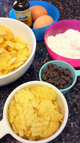 When setting aside your ingredients after you melt the chocolate, butter, and sugar together in the pot for your potato chip topped brownies, it is totally ok if you also pour yourself a bowl of chips on the side to snack on while you are cooking