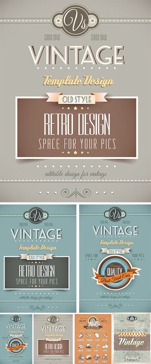 Stock: Vintage retro page template