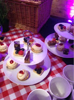 Small cakes on tiered cake stands
