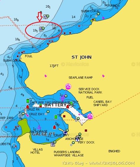 Cruz Bay. IL cerchio rosso indica la zona boe comode per dogana - St. John