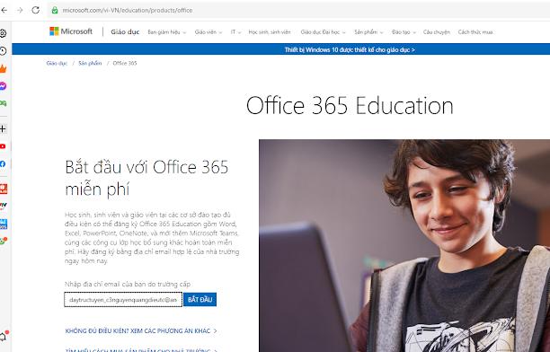 Đăng ký tài khoản Office 365 bằng email có tên miền angiang.edu.vn