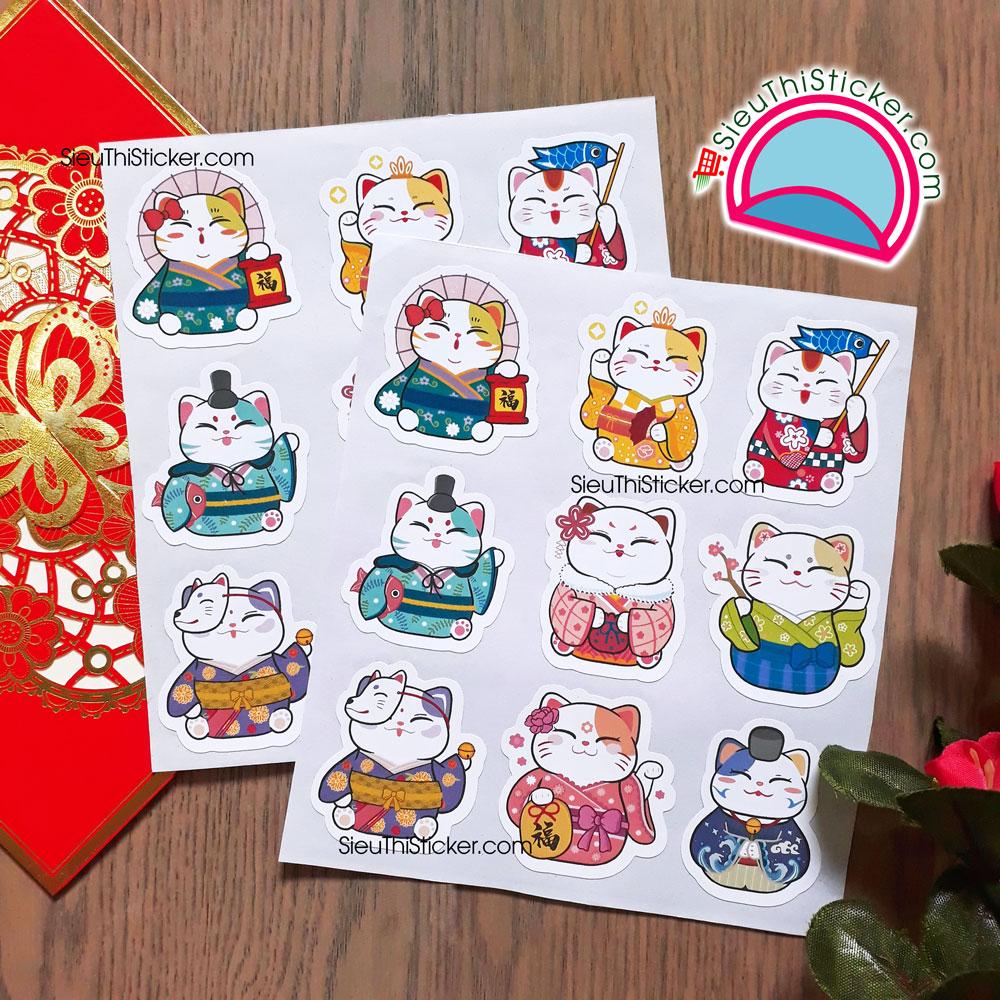 tem giấy mèo chiêu tài dán trang trí