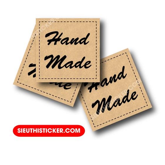 tem handmade kraft vuông dán hộp quà