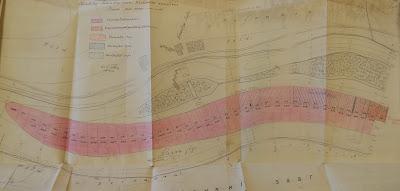 Дноуглубительные работы в порогах реке Нарове.Заштрихованные участки - выполнено за 1930-31 годы.Около Кокольского острова показаны остатки моста.