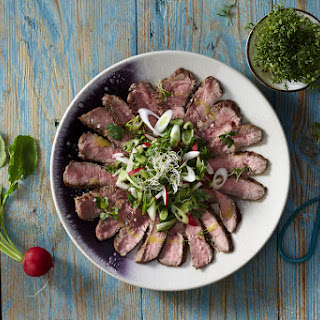 Seared Steak With Radish and Herb Salad.