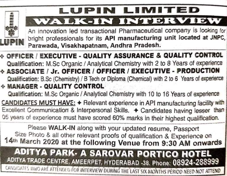Lupin Ltd - Walk in interview for Quality Control, Production on 14th March 2020