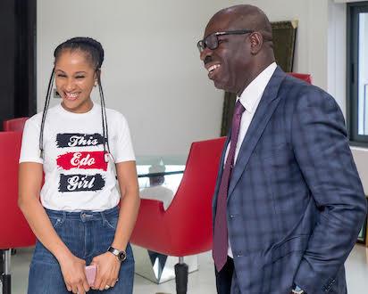 Adesua Etomi visits Obaseki, lauds achievements
