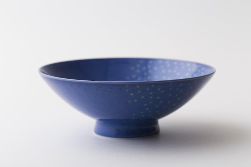 Hira-Chawan Flat Bowl (blue x polkadot)