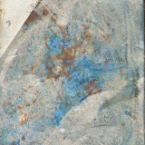 """'Sea Scrape-Swirl' 3""""x4"""" monotype, oil and sterling silver leaf on panel"""