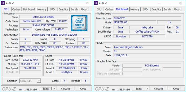 cpuz Gigabyte BRIX GB-BRi5-8250