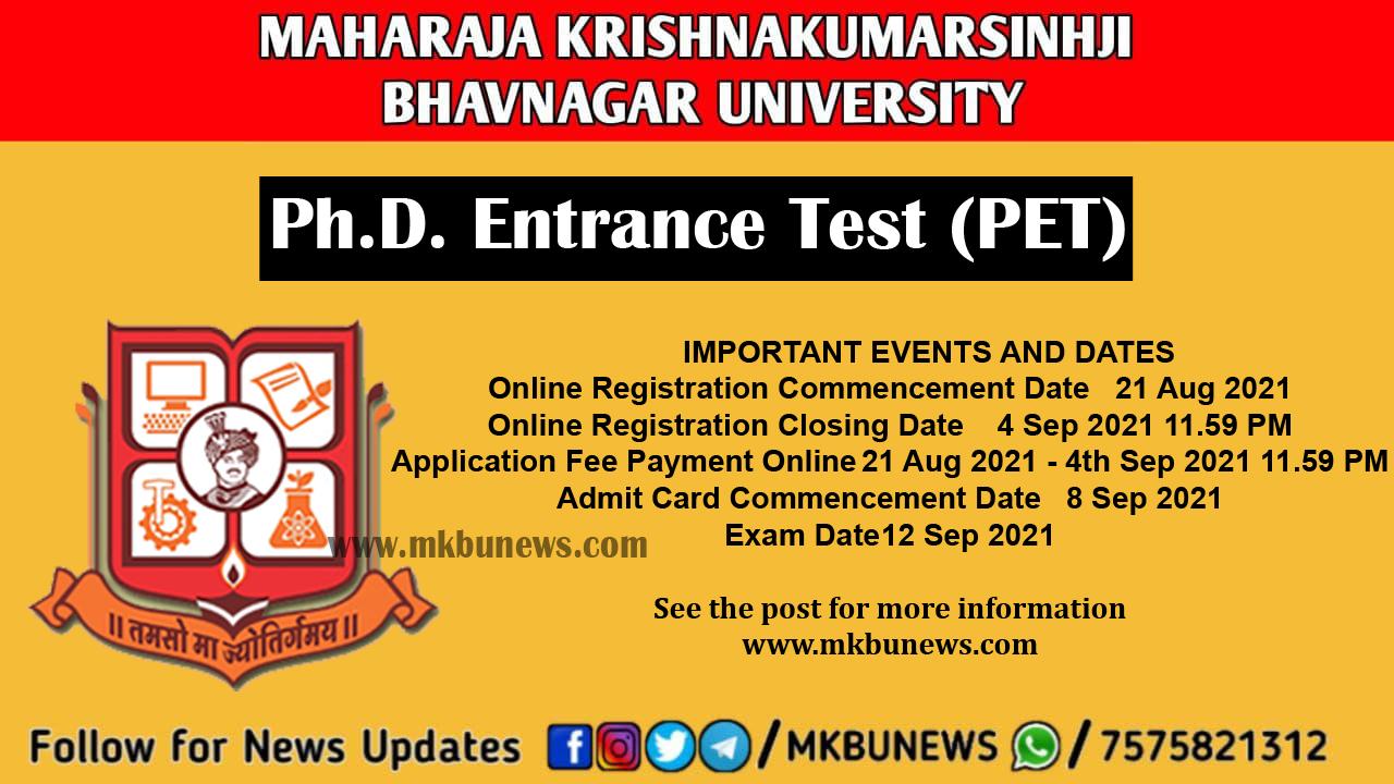 Maharaja Krishnakumarsinhji Bhavnagar University (MKBU) Ph.D. Entrance Test (PET)