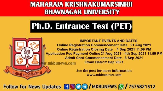 Maharaja Krishnakumarsinhji Bhavnagar University (MKBU), Bhavnagar will be conducting M.Phil, / Ph.D. Entrance Test (PET) for establishing eligibility for admission to Degrees of M.Phil and Ph.D