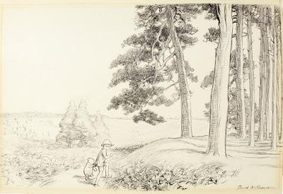Ilustração de Pooh e Christopher Robin, de E.H. Shepard