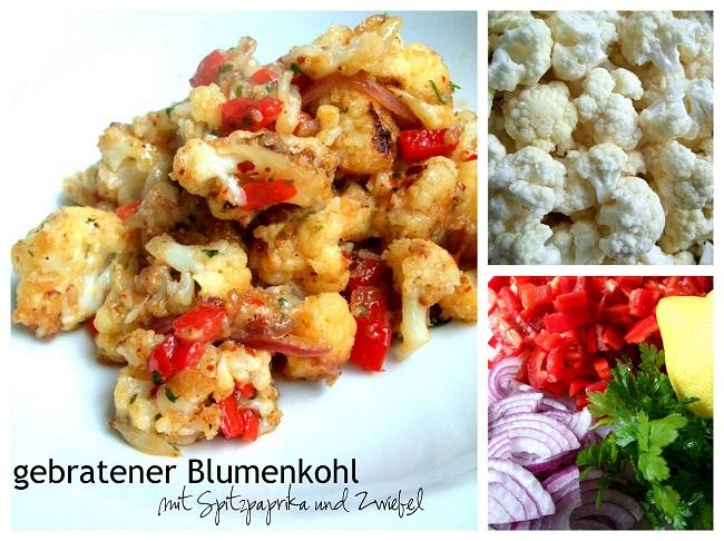gebratener Blumenkohl mit Paprika und Zwiebel