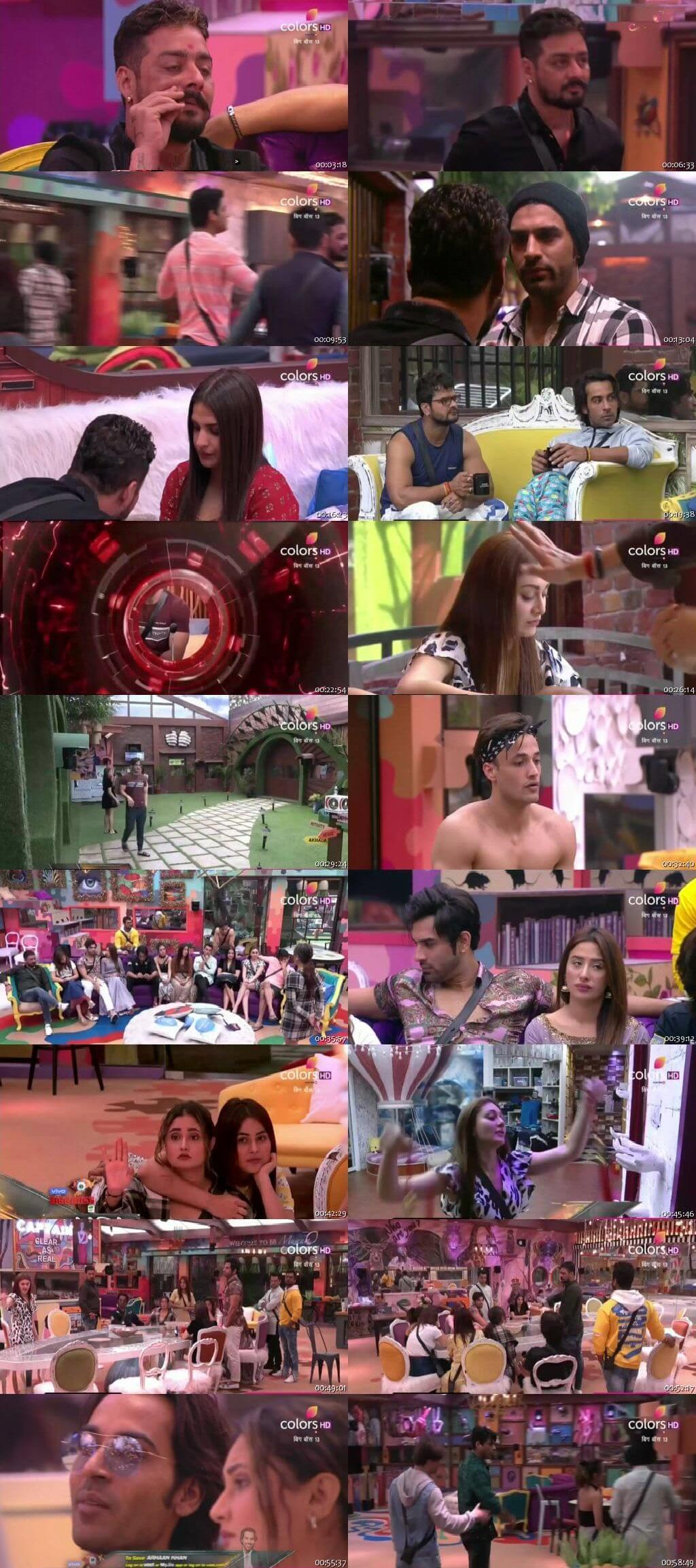Screenshots Of Hindi Show Bigg Boss 13 8th November 2019 Episode 39 300MB 480P HD