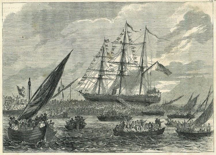 Embarque de voluntarios catalanes. Croquis del mismo pintor aparecido en una revista francesa indeterminada. 22 de mayo de 1869.tif