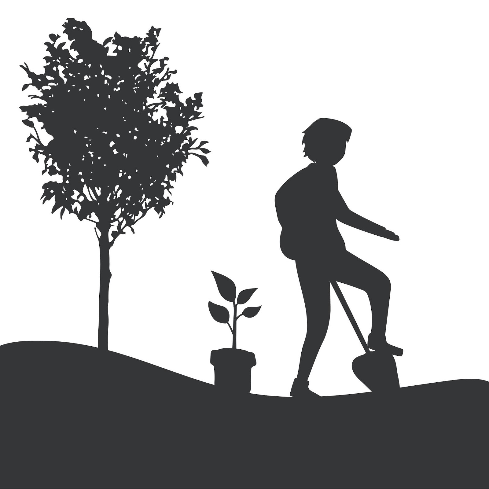 Silhouette Man Gardening Vector Free Download Vector CDR, AI, EPS and PNG Formats