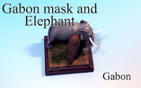Gabon mask and elephant -Gabon-