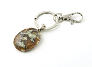 Keychain- decorative fused glass key ring with lobster claw