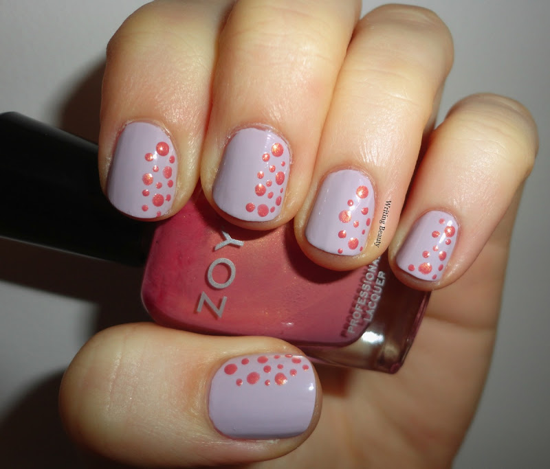 Spring Polka Dot Nail Art. China Glaze Light as Air Zoya Meadow 1 - Writing Beauty: Spring Polka Dot Nail Art