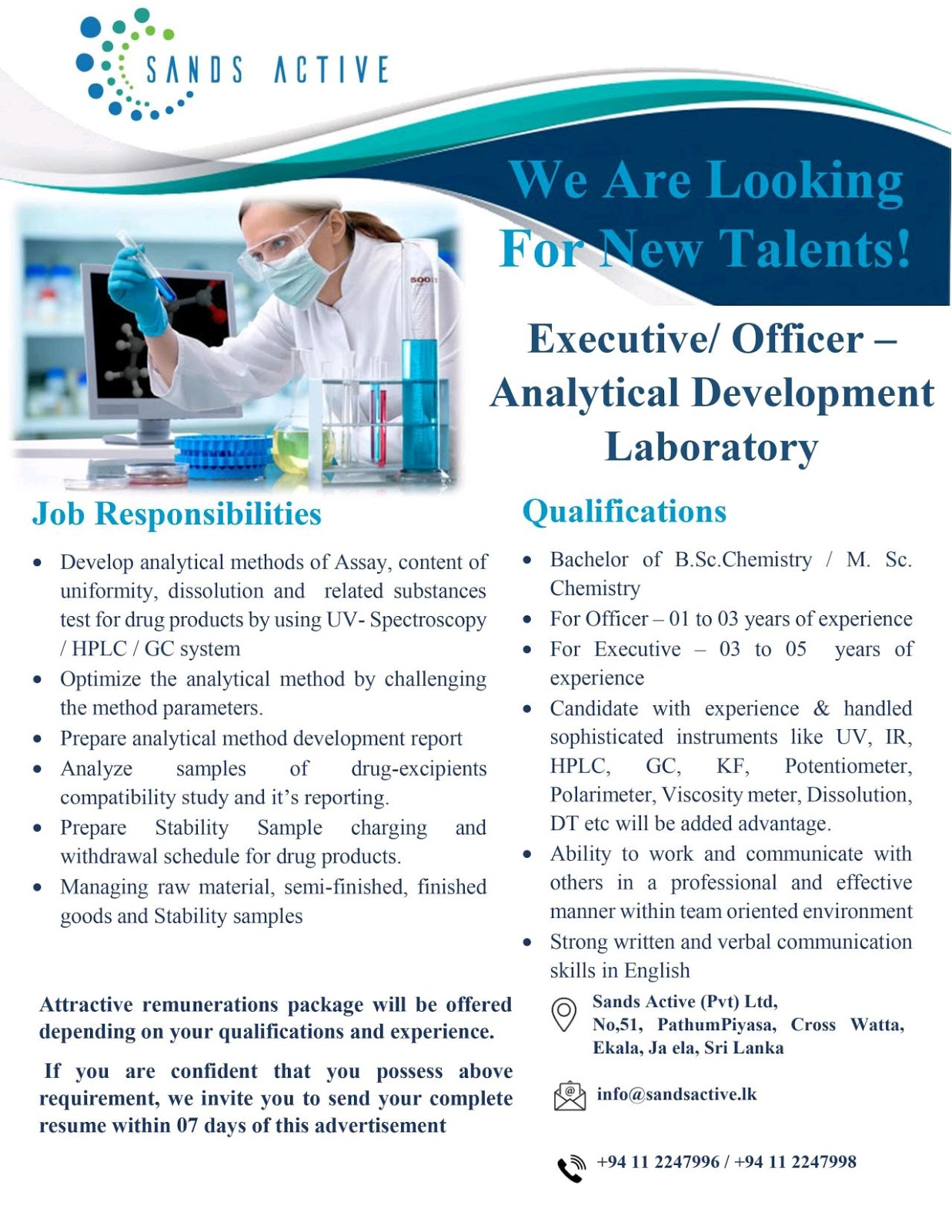 Opening At Sri Lanka For Analytical Research Development