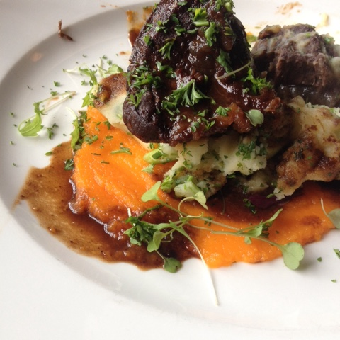 West Brewery Slow Cooked Beef Cheek with Creamed Potatoes, Carrot Puree and Gravy
