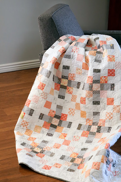 Scrappy coral and gray quilt by Andy of A Bright Corner - pattern from Season to Taste quilt book