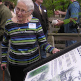 Louie Lawton, at trail sign dedication for she and sister Bessie Weatherston, 9/2006.