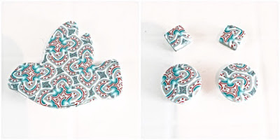 Polymer Clay Kaleidoscope Cane - Jewellery brooch & earrings a work in progress