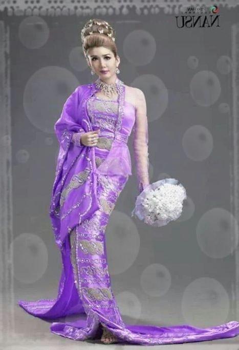 Beautiful Myanmar Traditional Wedding Dress - Fashionre-5078