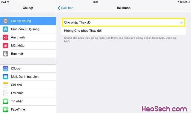 Hình 7 - Cách khóa tính năng thay đổi tài khoản iCloud cho iPhone, iPad