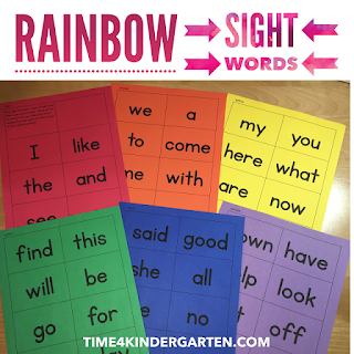 rainbow sight words- learn sight words in rainbow order