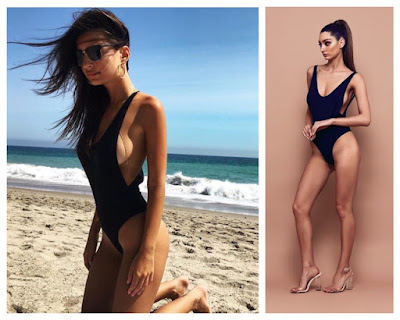 Emily Ratajkowski in Black Bossa Slay Open Side Boob Swim Bodysuit