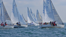 J/24 sailboat fleet- sailing off Italy as one-design class