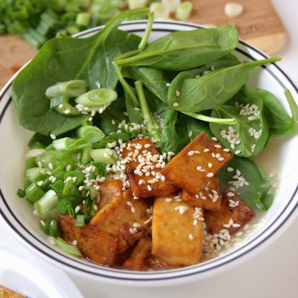 Spinach, Tofu, and Rice Bowl