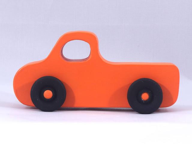 ade Wood Toy Pickup Truck Pumpkin Orange With Flat Black Wheels
