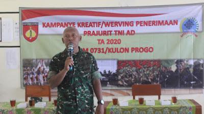 Kampanye Kreatif/Werving Penerimaan Prajurit TNI AD di SMKN 1 Kokap Kulon Progo