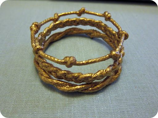 Bangle set painted with metallic gold paint.