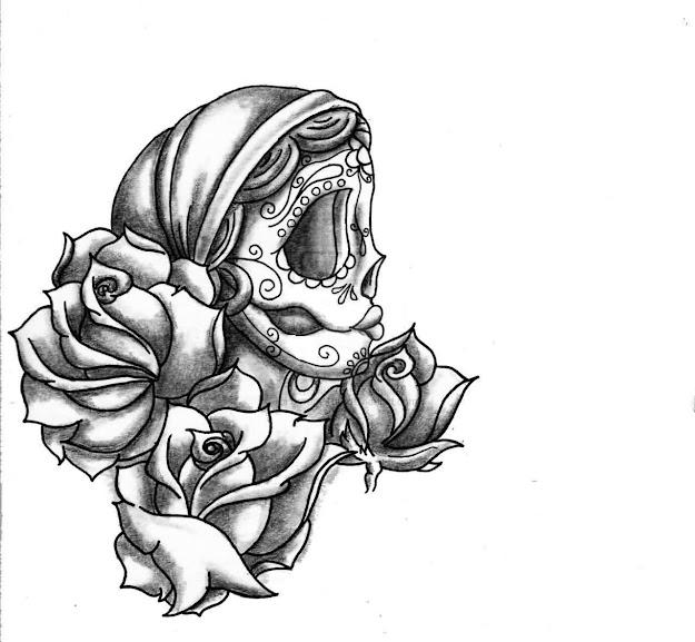 Sugar Skull Girl And Roses Tattoo Designs Photo