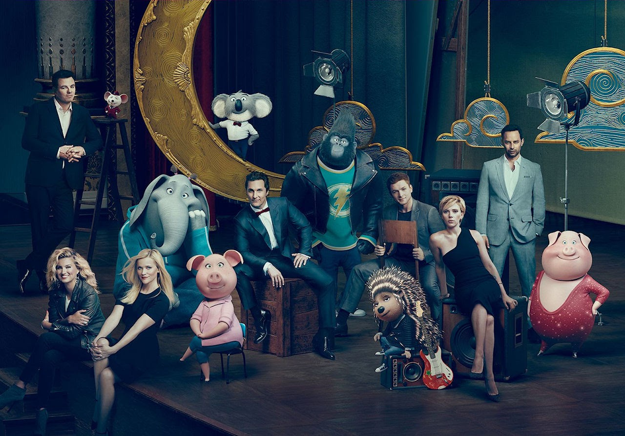 The lead cast of SING shares the stage with the characters they portray. (Photo courtesy of Illumination Entertainment and Universal Pictures).