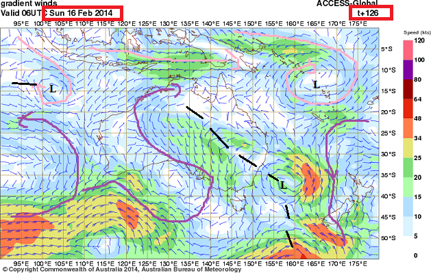 coral sea wind streams 16th feb 2014 forecast
