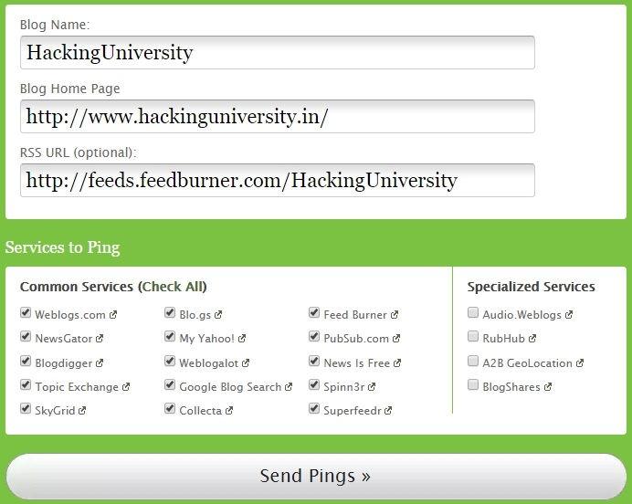 pingomatic site pinging tool