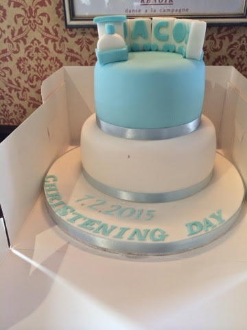 baby boy white and blue christening cake with train on top