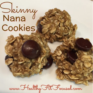 Skinny Nana Cookies...only 3 ingredients.  Banana, Oats, Dark Chocolate Chips!  Kid and Hubby approved!