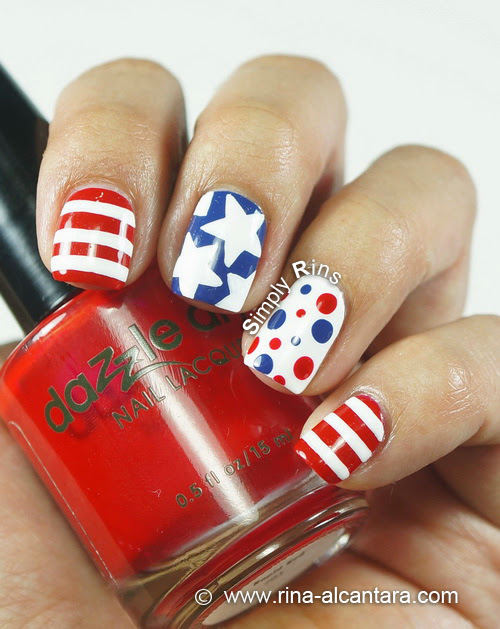 Fourth of July Nail Art over Dazzle Dry