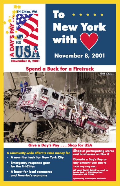 Part of the campaign in the Tri-Cities to raise enough money to buy a new fire truck for New York City.  And they did!