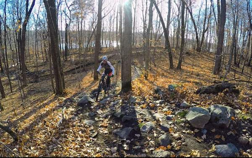 Riding opposite direction on Twin Lakes singletrack rock garden. October 24th, 2016.