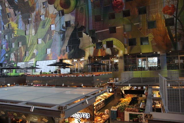 The inside of the Market Hall and its amazing artwork